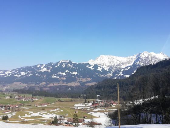 Blick auf Obermaiselstein zum Nebelhorn